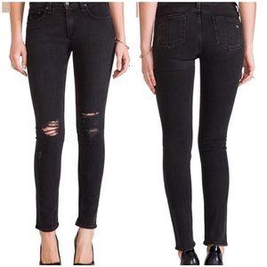 Rag & Bone Black Distressed Skinny Jeans Size 26